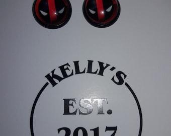 Deadpool Earring Studs 12mm