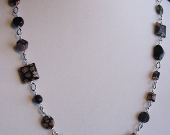 Black Millefiori chained necklace 0420 NK