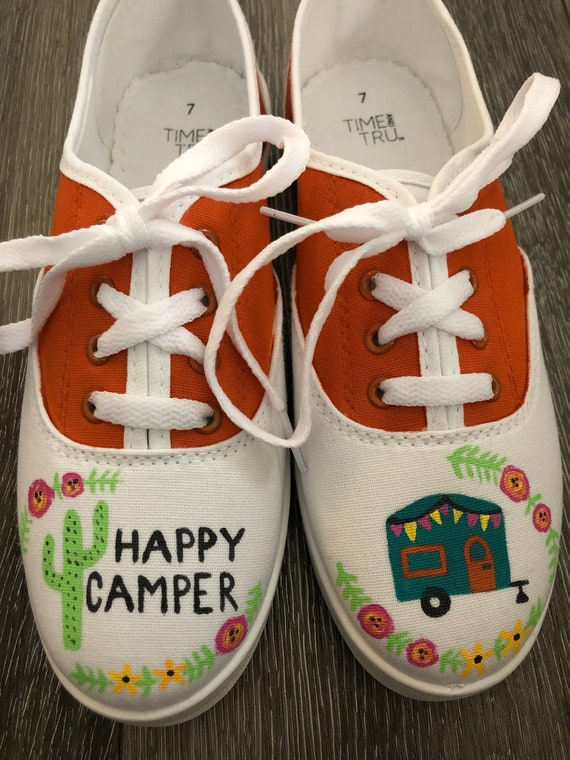 Hand Painted Canvas Happy Camper Shoes