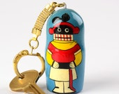 Arizona Kachina Keychain - Southwest, Native American inspired. Wooden nesting doll shape, made in Russia. Unique YES