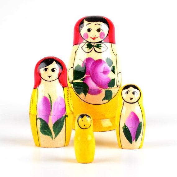 "Russian Handmade Nesting Doll Matryoshka Classic Design US Seller 3/"" 3pcs"