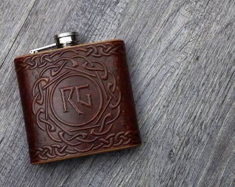 Custom Embossed Celtic / Viking Rune Leather Hip Flask- 6oz Hand crafted and dyed in a range of colours