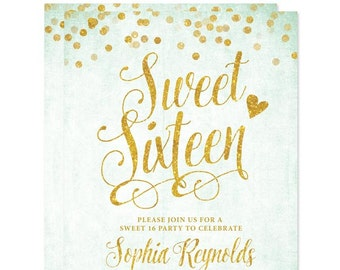 Sweet 16 Invitations - Mint & Gold Confetti  DIY Printable File For Printing On Your Own Sweet Sixteen Invitations - 16th Birthday Invites