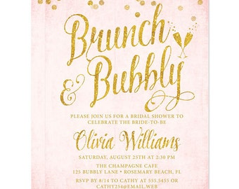 blush pink and gold brunch bubbly bridal shower invitations printed or personalized digital printable file