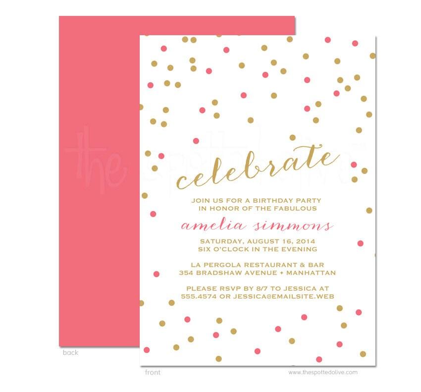 Celebrate Confetti Birthday Party Invitations Personalized Etsy