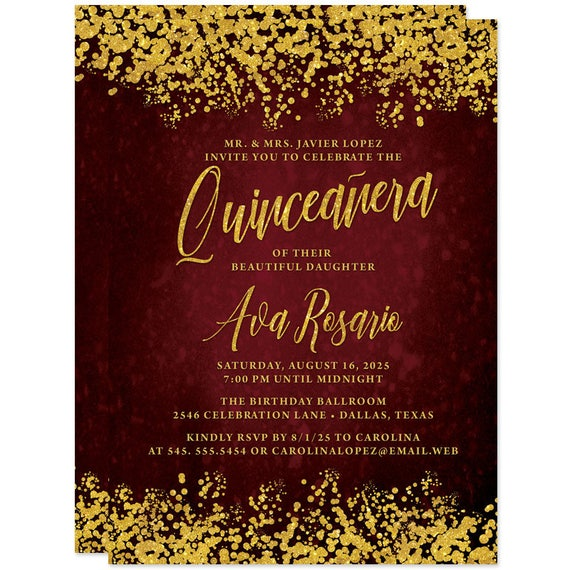 Burgundy Red Gold Quinceanera Invitations Printed Or Personalized