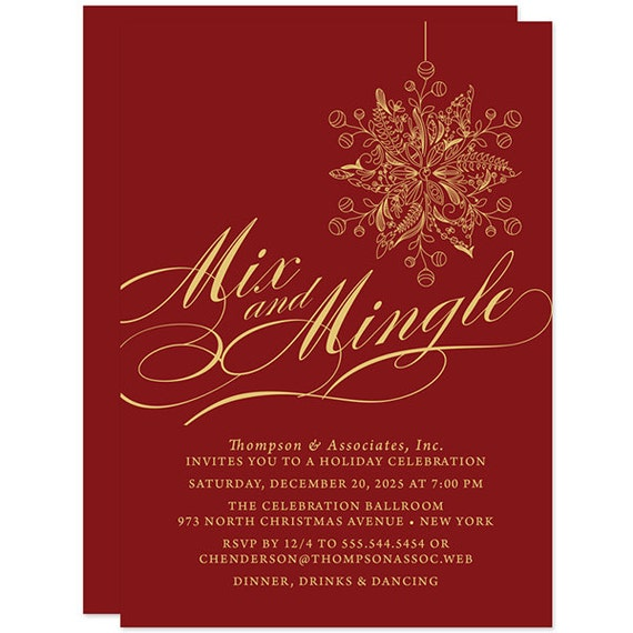 red and gold mix mingle christmas party invitations printed