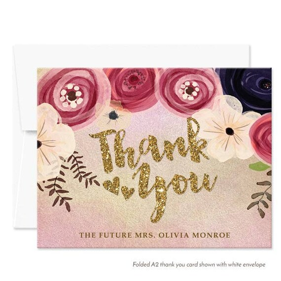 Printed Personalized Thank You Cards Watercolor Flowers Thank You