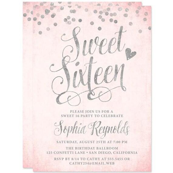 sweet 16 invitations blush pink silver confetti sweet sixteen