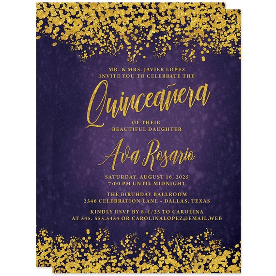 purple gold quinceañera invitations printed or personalized