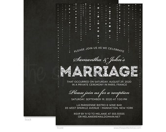 Silver Glitter Look & Black Wedding Reception Only Invitations - DIY Printable File