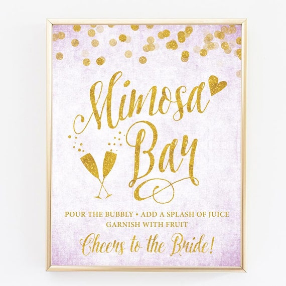graphic about Mimosa Bar Sign Printable titled Lavender Gold Mimosa Bar Indication - 8\