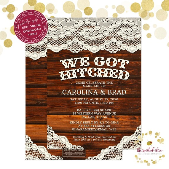 Rustic Hitched Reception Only Invitation Editable Digital
