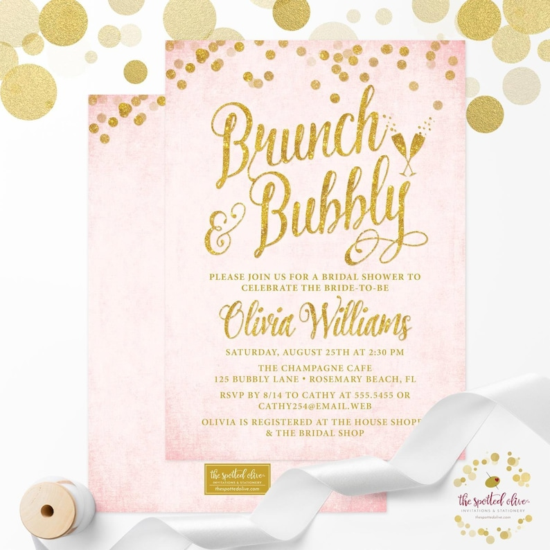 fee4e29fe4cc Blush Pink and Gold Brunch   Bubbly Bridal Shower Invitations