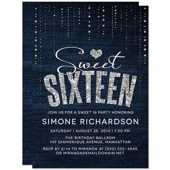 Denim Diamonds Sweet Sixteen Invitations Printed Or Personalized Digital Printable File