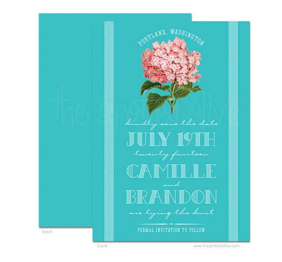 pink hydrangea save the dates diy printable file for printing on