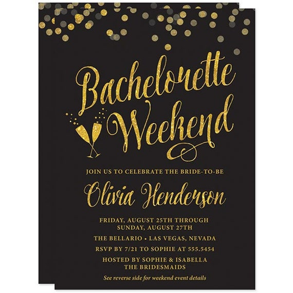 black and gold confetti bachelorette weekend invitations with