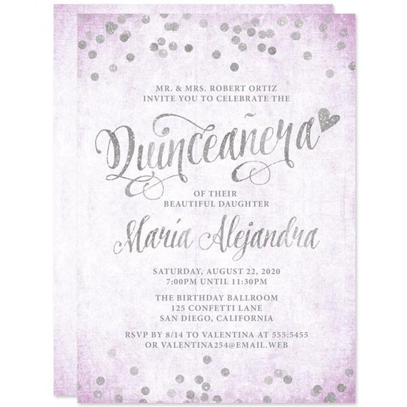 Quinceanera Invitations Lavender And Silver Diy Printable