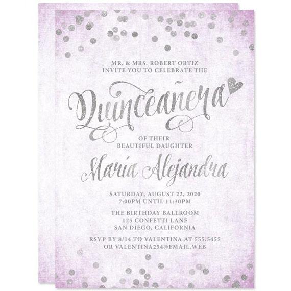 quinceañera invitations lavender and silver diy printable etsy