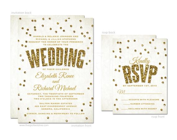 gold glitter confetti wedding invitations rsvp cards diy