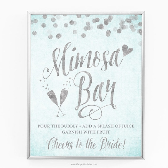graphic about Mimosa Bar Sign Printable known as Aqua Blue Silver Mimosa Bar Indicator - 8\