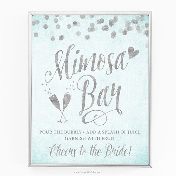 graphic regarding Mimosa Bar Sign Printable referred to as Aqua Blue Silver Mimosa Bar Indication - 8\