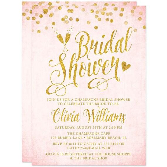 Blush pink gold bridal shower invitations printed bridal etsy image 0 filmwisefo