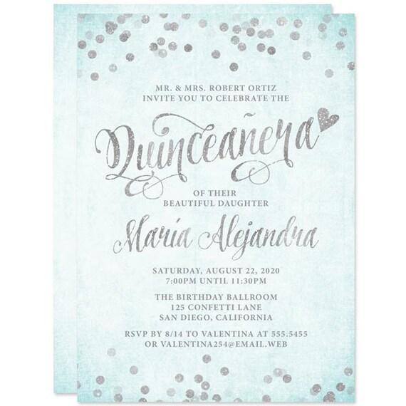 quinceañera invitations aqua blue silver diy printable file for