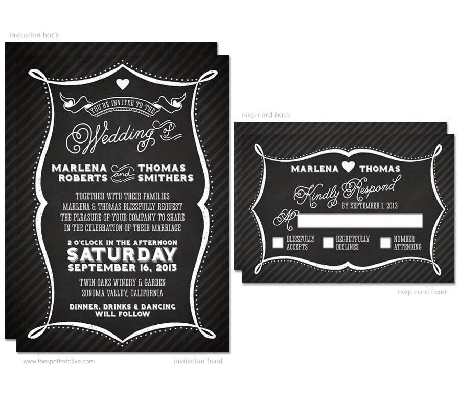 Diy Chalkboard Wedding Invitations: Chalkboard Typography Wedding Invitation & RSVP Card Set
