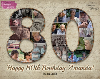 80th Birthday Gift Custom Photo Collage Personalized Decorations Poster For Woman Men