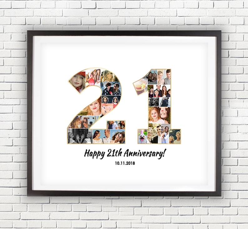 21st Wedding Anniversary.21st Wedding Anniversary Gifts Idea 21 Years Married Gift Number Collage Anniversary Collage Art Print Custom Photo Gif