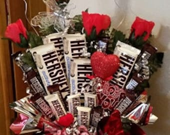 Deluxe Nut And Candy Bouquet Birthday Bouquet Arrangement Etsy