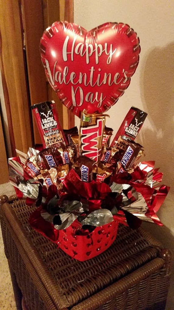 Jerky And Twix Happy Valentine S Day Candy Bouquet Etsy