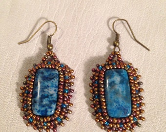 Blue Crazy Lace Agate beaded earrings