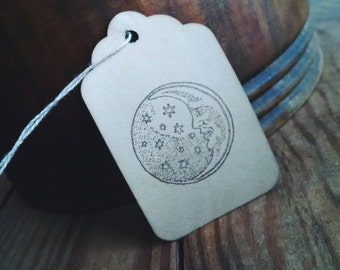 Man in the Moon gift tags, moon & stars- set of 12