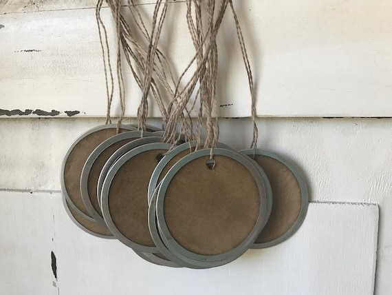 """50 Metal Rim Round SMALL 1-1//4/"""" Coffee Stained Primitive Price Gift Hang Tags"""