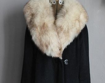 50s Designer Lilli Ann Wool Black Cocoon Coat with Geniune Real Fox Fur Collar