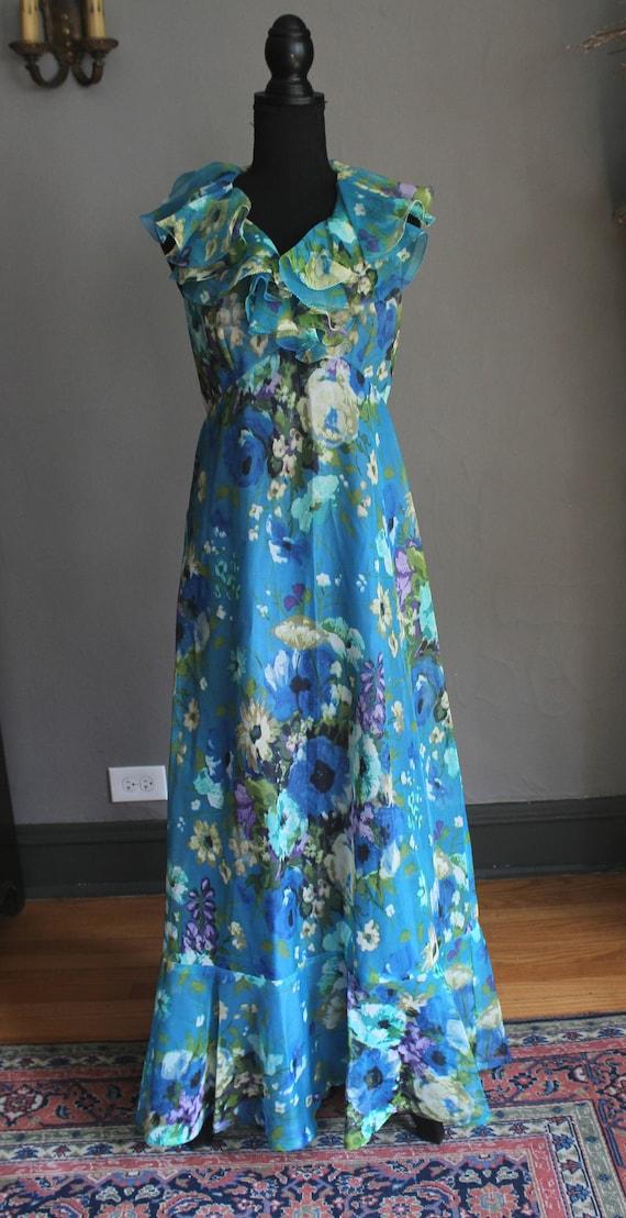 60s Floral Chiffon Ruffled Halter Maxi Dress