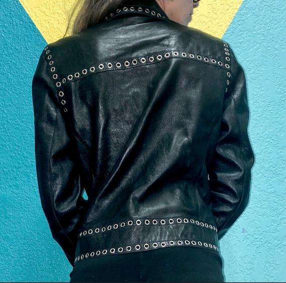 Black Genuine Leather Jacket Grommets Studded Ron… - image 4
