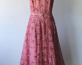 Vintage 50s Pink Ribbon Lace Dress Painted with Black Velvet Trim Circle Skirt