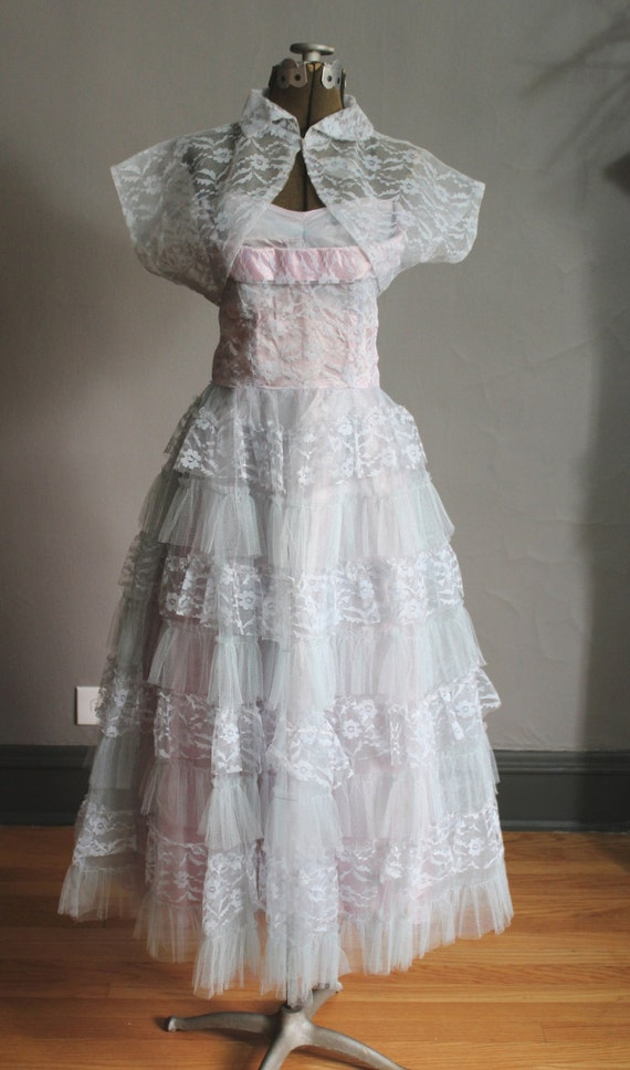1950s Tulle Lace Prom Evening Dress Full Circle Mi