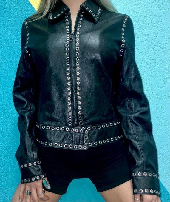 Black Genuine Leather Jacket Grommets Studded Ron… - image 1