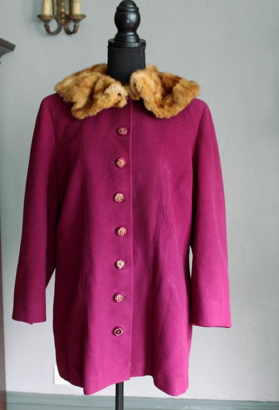 40s Magenta Purple Pink Wool Jacket with Real Genu