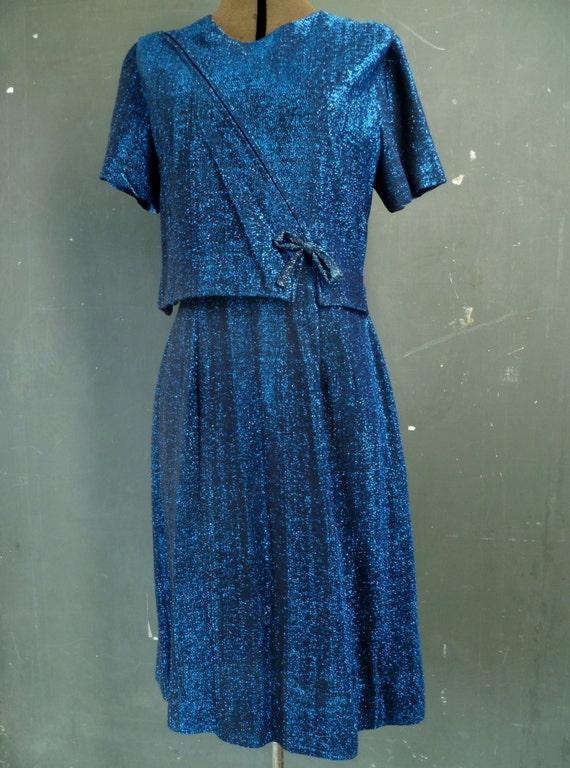 60s Cobalt Blue Metallic Lame Lurex Cocktail Dress