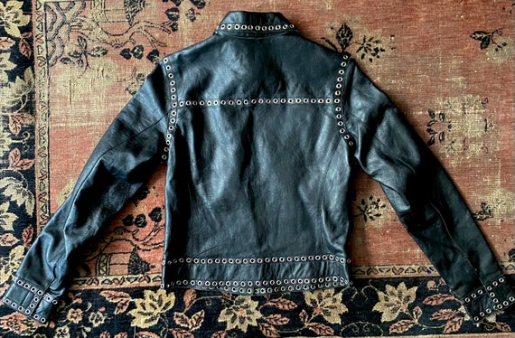 Black Genuine Leather Jacket Grommets Studded Ron… - image 3