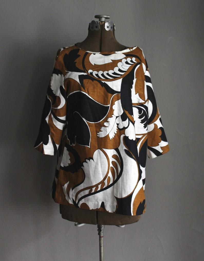 60s Robert Allan Designer Pucci Era Top Blouse Tunic Black White and Bronze Brown Op Art
