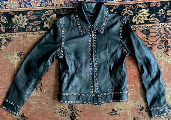 Black Genuine Leather Jacket Grommets Studded Ron… - image 5