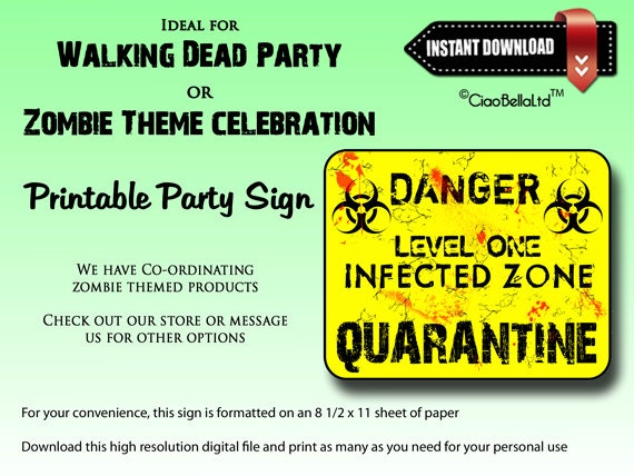 photo regarding Quarantine Sign Printable referred to as Quarantine - Point One particular Contaminated Zone Printable Celebration Indicator - Fast Electronic Down load