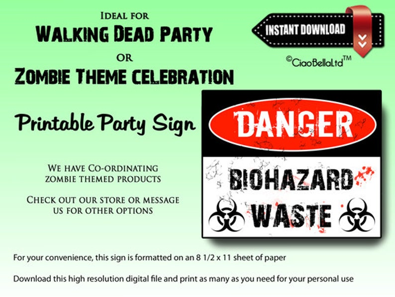 graphic relating to Quarantine Sign Printable identified as Hazard Biohazard Squander Printable Celebration Indicator - Instantaneous Electronic Down load