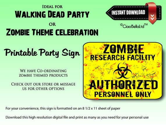 graphic about Authorized Personnel Only Sign Printable referred to as Zombie Experiments Facility Permitted Employees Merely Printable Get together Signal - Fast Electronic Obtain